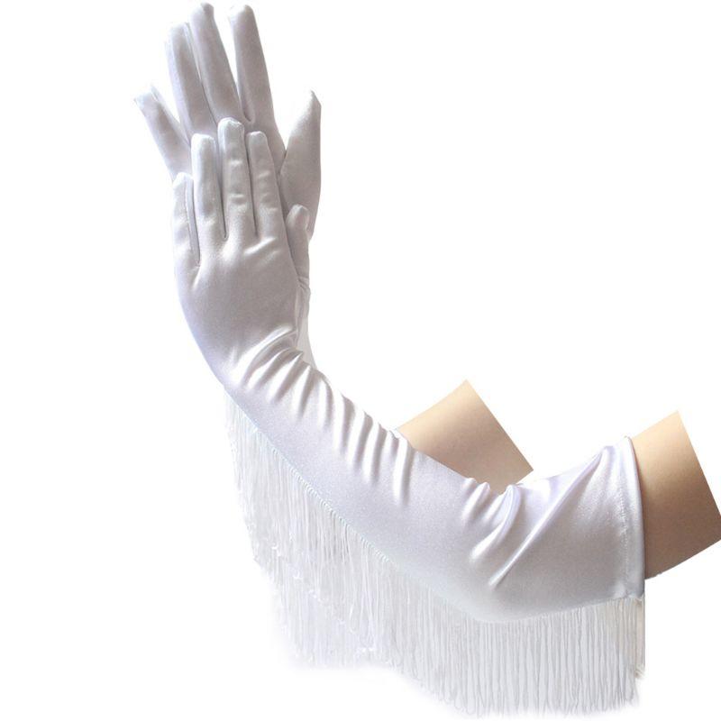 Women Long Gloves Party Latin Dance Ceremonial Sexy Tassel Satin Glove
