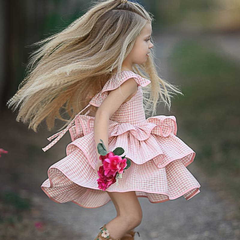 Menoea/платье для маленьких девочек детское платье в европейском и американском стиле детское платье в клетку с летящими рукавами для дня рождения платье принцессы для девочек