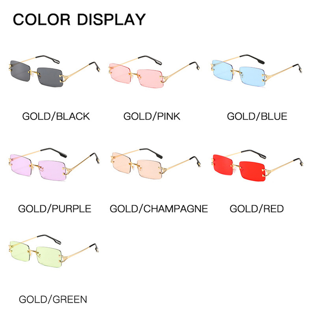 Фото прямоугольные узкие маленькие солнцезащитные очки без оправы цена