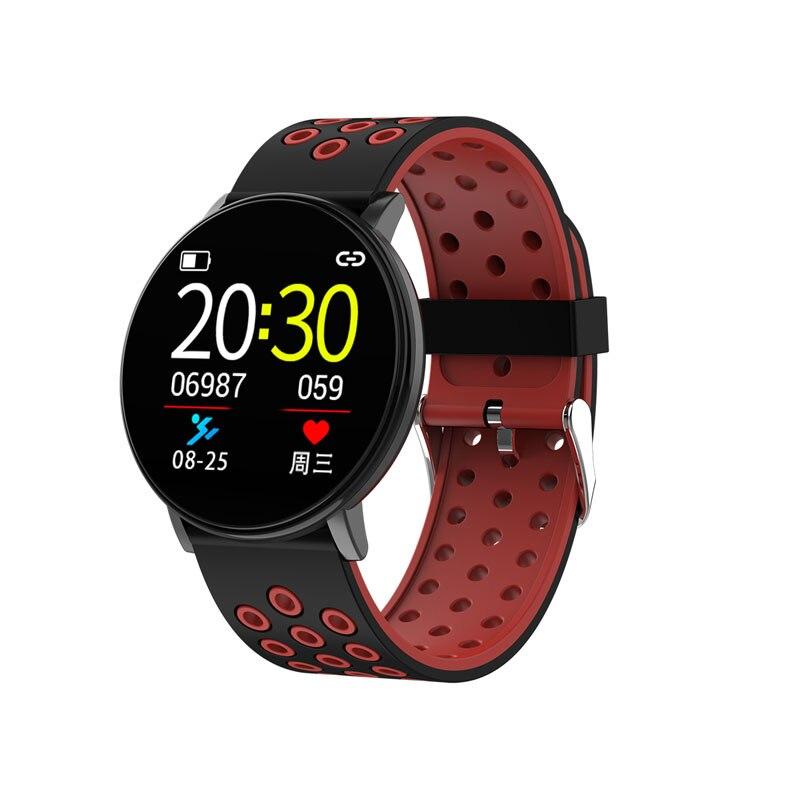 Спортивные Смарт-часы для мужчин, водонепроницаемые Смарт-часы для измерения артериального давления для женщин, монитор сердечного ритма, Bluetooth, умные часы для Android IOS - Цвет: W8C Black red