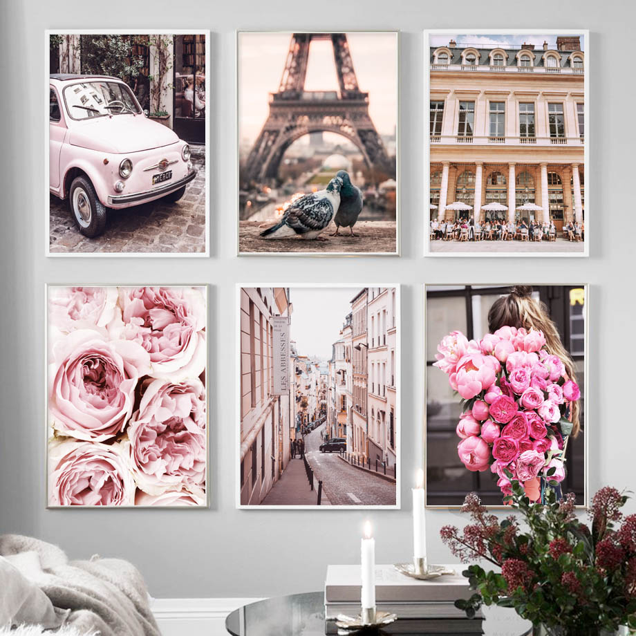 Pink Rose Flower Paris Tower Pigeon Car Wall Art Canvas Painting Nordic Posters And Prints Wall Pictures For Living Room Decor(China)