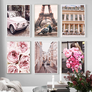 Pink Rose Flower Paris Tower Pigeon Car Wall Art Canvas Painting Nordic Posters And Prints Wall Pictures For Living Room Decor