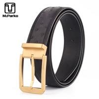McParko Luxury Ostrich Genuine Leather Belt Men Black Classic Mens Designer Belts High Quality Famous Brand Pin Buckle Hot Belts