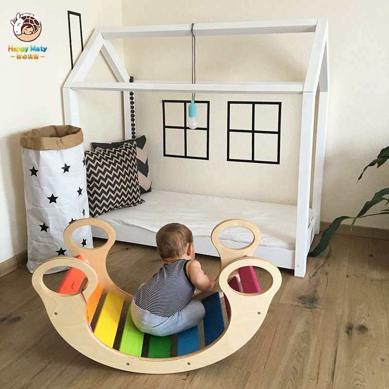 Wooden Baby Chair Indoor Cute Cartoon Sofa Climbing Interactive Educational Toy Kids Room Decoration Rocking Chair