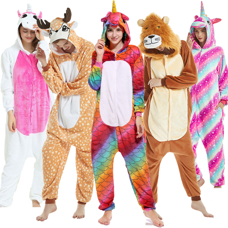 Adult Animal кигуруми Pajamas Set For Men Cartoon Panda Unicorn Sleepwear Halloween Women Winter Stitch Kugurumi Pyjama Homewear