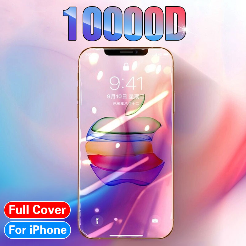 10000D Curved Glass On For IPhone 11 Pro XS MAX XR X Full Cover Screen Protector Tempered Glass For IPhone SE 2 7 8 6s Plus Film