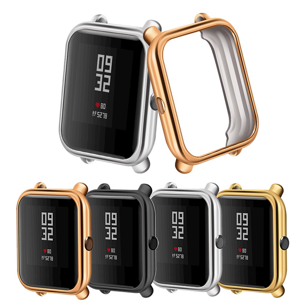 Watch Cases For Xiaomi Huami Amazfit Bip Youth Lite Watch Electroplate Soft TPU Case Cover Protector Prevent Scratches Bumps
