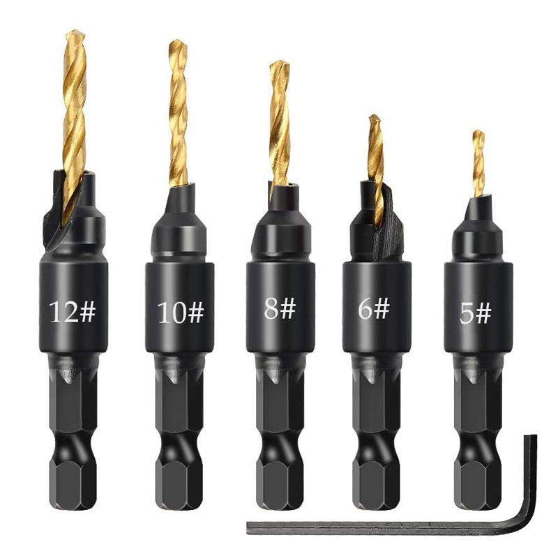 6Pcs Countersink Drill Woodworking Drill Bit Set Drilling Pilot Holes For Screw Sizes Hand Tool Set #5 #6 #8 #10 #12
