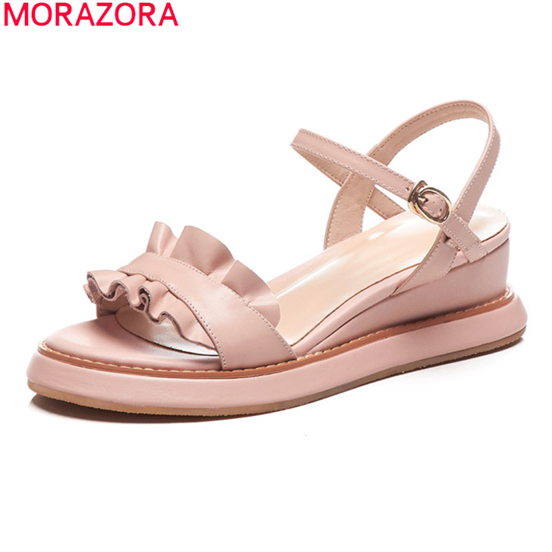 MORAZORA 2020 New Arrival Women Sandals Genuine Leather Comfortable Casual Shoes Flat Heel Summer Buckle Shoes Woman