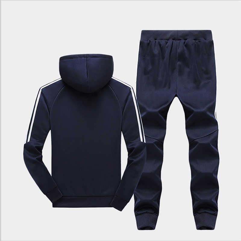 M-4XL Otoño Invierno conjuntos de chándal para hombre 2 piezas chaqueta pulóver pantalones de chándal Casual a rayas conjunto de ropa deportiva para hombre