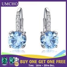 UMCHO, настоящее 925 пробы, серебряные клипсы, серьги для женщин, драгоценный камень, Небесно голубой топаз, женские серьги, Круглые, для свадьбы, Святого Валентина, ювелирное изделие
