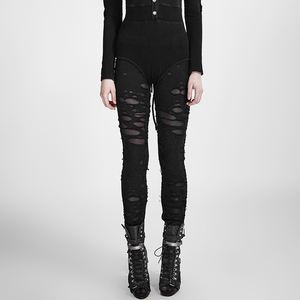 Image 4 - Женские готические леггинсы в стиле панк RAVE, эластичные вязаные дышащие рваные брюки черного, красного цветов в стиле стимпанк