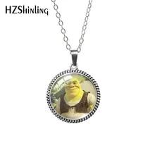 2020 Antique Necklace Cartoon Shrek Glass Cabochon Necklace Retro Pendants Jewelry