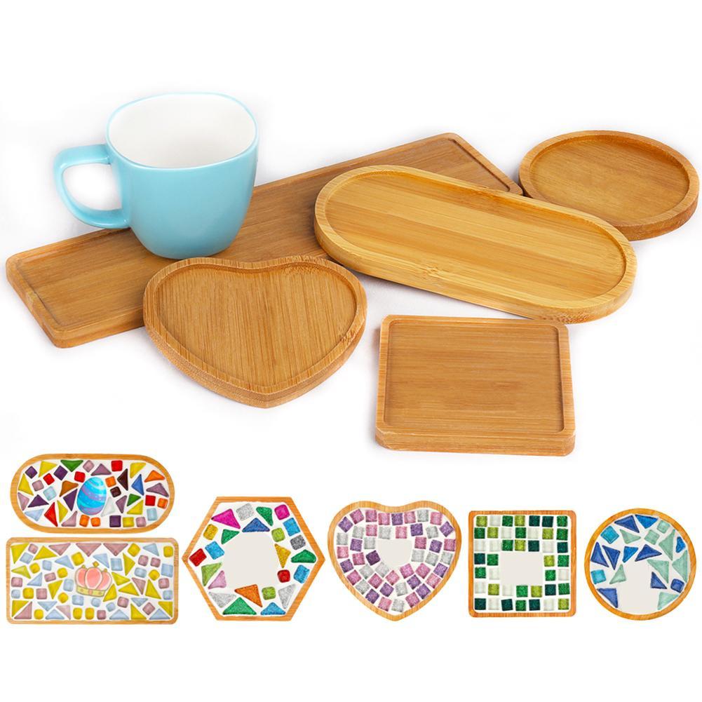 1/3/4Pcs Wooden Round Cup Coasters Mosaic Heart Square Coaster Cup Mat Placemat Mosaic Making DIY Craft Mosaic Tool Kits