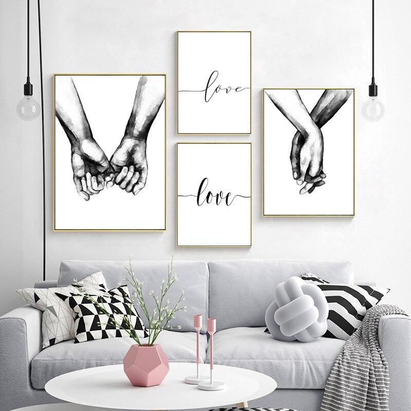 Настенные картины в скандинавском стиле, постер с надписью Love, черно-белая Настенная картина с изображением влюбленных пар, Минималистичная Печать на холсте для гостиной