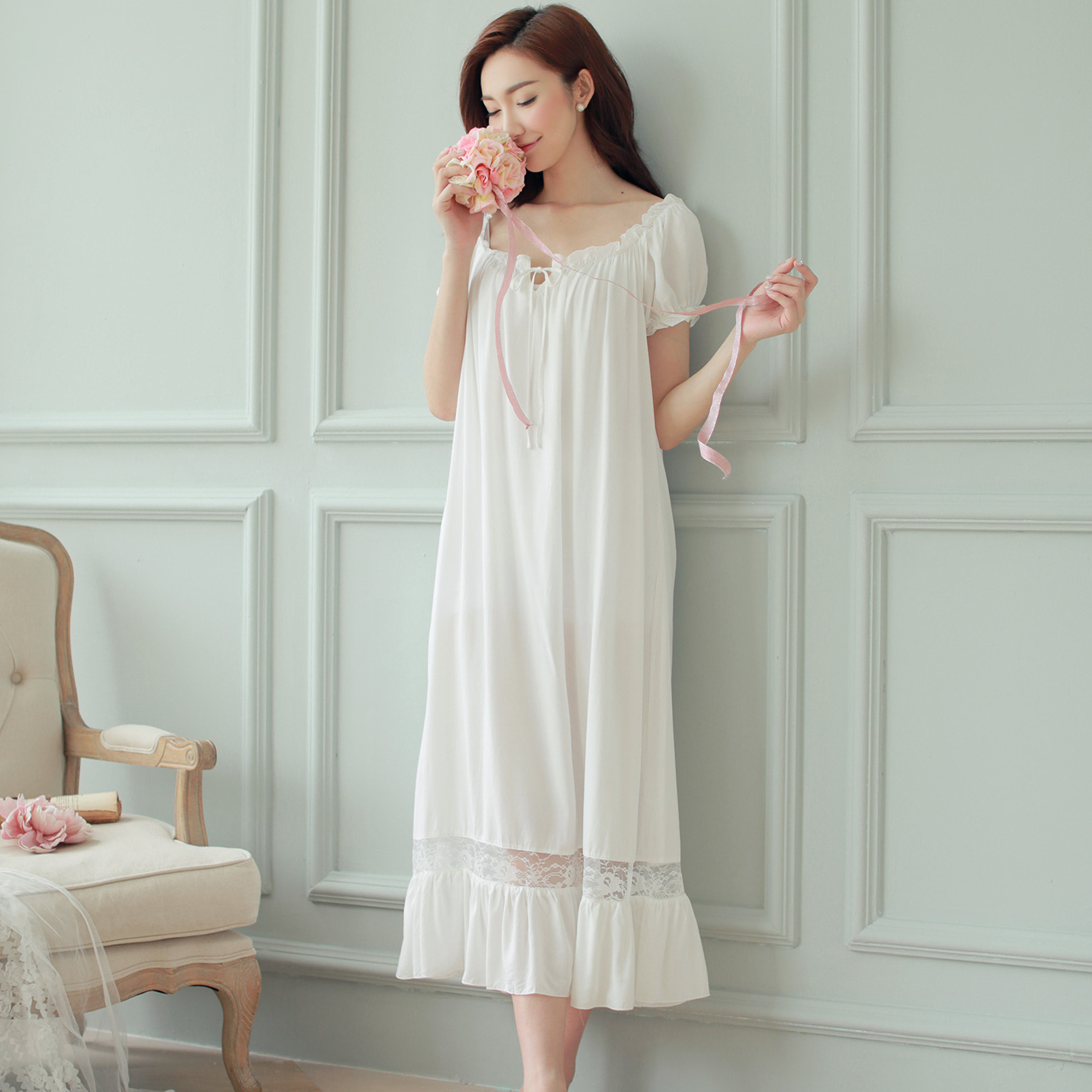 Summer Women Nightgowns White Cotton Short Sleeve Nightdress Vintage Long Sleepwear Lace Sexy Nightwear Home Night Dress 2020