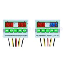 цена на AC 220V 12V 24V Digital LED Dual Temperature Controller Regulator Thermostat for Incubator Control Switch Dual Sensor Probe
