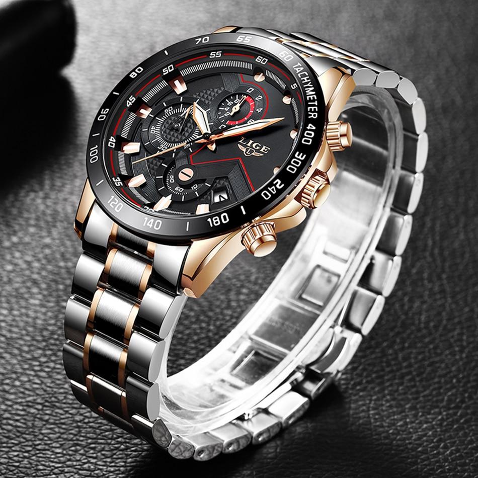 H79fb92888c064eaab41d56b9251b9003W LIGE Men Watches Top Brand Luxury Stainless Steel Blue Waterproof Quartz Watch Men Fashion Chronograph Male Sport Military Watch