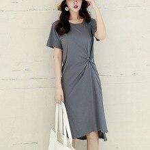 Women Summer Fashion Simple Casual Solid Color Women\s Dress Slim Plus Size Short Sleeve Round Neck Split Dresses