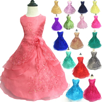 Flower Girl Birthday Wedding Bridesmaid Kids Pageant Formal Gown Dresses Toddler High Quality Bead & Petticoat Dress