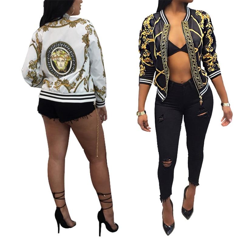 Women Fashion Casual Digital Positioning Printed Short Jackets Coat Long Sleeve Thin Jacket Baseball Uniform Outerwear Coats