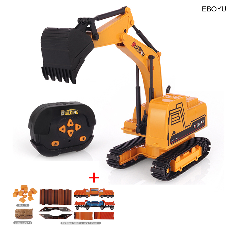 EBOYU A008 2.4Ghz 6CH 1:24 RC Excavator Mini RC <font><b>Truck</b></font> Alloy Metal Simulated Excavator w/ 3D Models LED <font><b>Light</b></font> Gift Toy for Kids image
