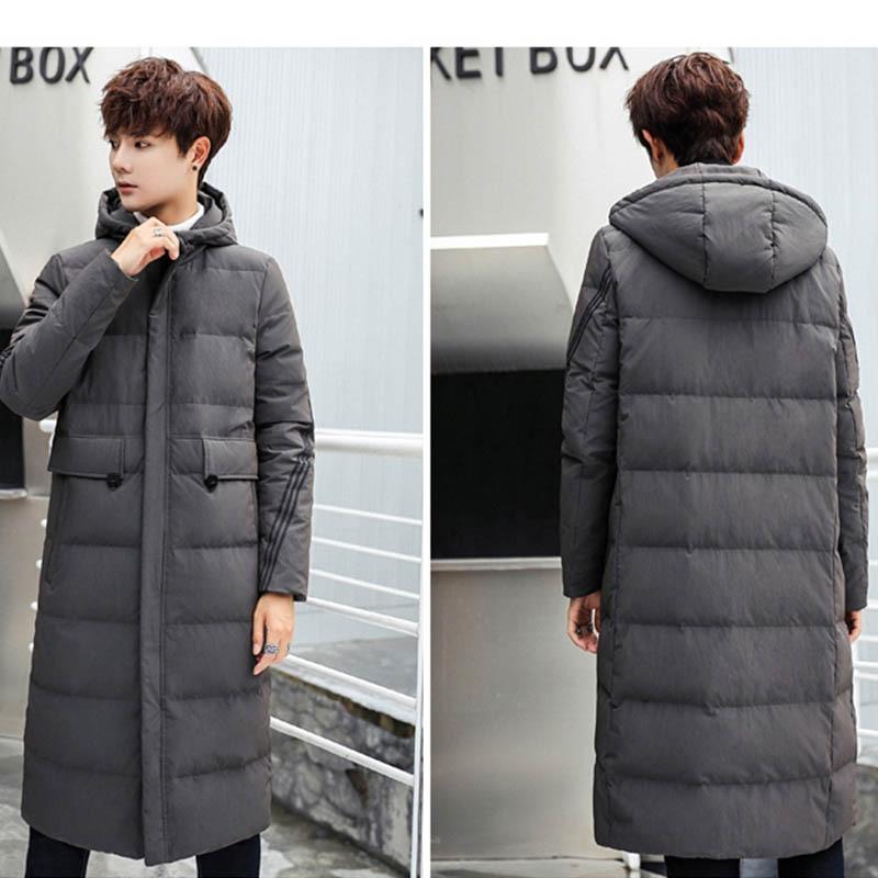 Hiver nouveau hommes long coton costume mince à capuche long manteau veste décontracté rue coupe vent 2019 hiver beau manteau chaud - 6