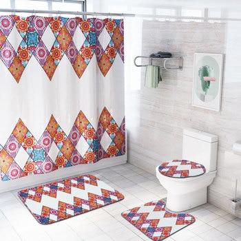 4Pcs Bohemia Print Hook Shower Curtain Mediterranean Bohemia Bathroom Curtain Bathtub Rug Commode Cover Tapete Banheiro