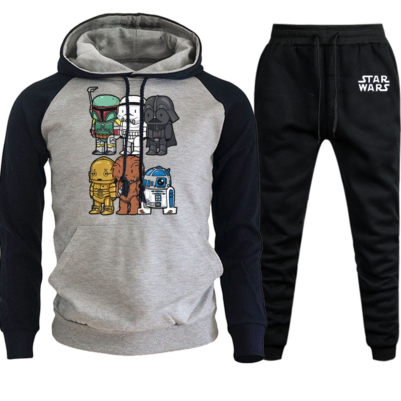 Funny Print Star Wars Stormtrooper Autumn Winter 2019 Sweatshirts Men Raglan Hoodie Suit Male Fleece Pullover+Pants 2 Piece Set