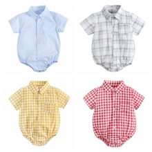 Sanlutoz Cotton Baby Boys Bodysuits Fashion Newborn Clothes for Baby Boy Short Sleeve Summer Baby Clothing Plaid cheap CN(Origin) Male 0-6m 7-12m 13-24m 25-36m BRS9011-SS Button Up Collar Fits true to size take your normal size Fashion Baby Boys Bodysuit