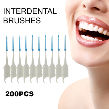 200Pcs Interdental Brushes Double Head Dental Floss Teeth Clean Soft Silicone Oral Care Clean Toothpick Teeth Sticks Tools 1