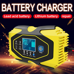 12V 6A Motorcycle Car Battery Charger Maintainer&Desulfator Smart Battery Charger,Pulse Repair Battery Charger with LCD Display