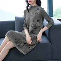 2019 New Fashion Casual Slim Midi Dress Women Winter Dress Long Sleeve Base wool Female Twist Knitted Sweater Dress Vestidos