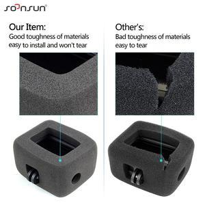 Image 4 - SOONSUN Wind Noise Reduce Foam Cover Windshield Sponge + Frame Mount + Camera Lens Cap for GoPro Hero 7/6/5 Go Pro Accessory Kit
