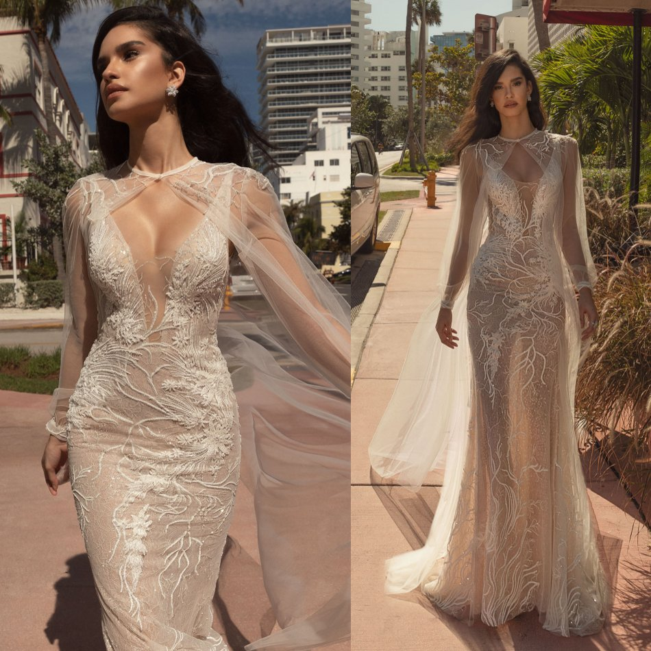 Sexy 2020 Mermaid Wedding Dress With Cape Lace Appliqued Beads Wedding Dresses Reception Plus Size See Through Bridal Gowns