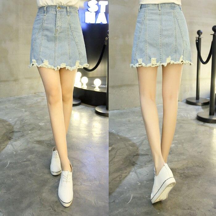 2018 Summer Korean-style Large Size High-waisted A- Line Skirt Versatile Students With Holes Denim Skirt WOMEN'S Bag Hip Skirt