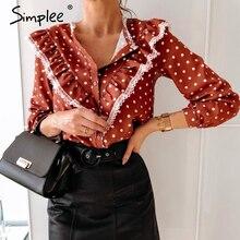 Simplee Vintage à pois femmes blouse chemise printemps été à manches longues dentelle rouge haut élégant vêtements de travail décontracté mignon montre de sport