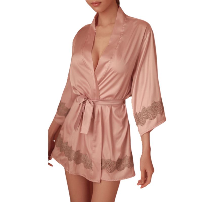 Women Sexy Nightgown Exquisite Embroidered Lace Stretch Silk Seven-Sleeve Comfortable Sexy Women's Sleepwear Short