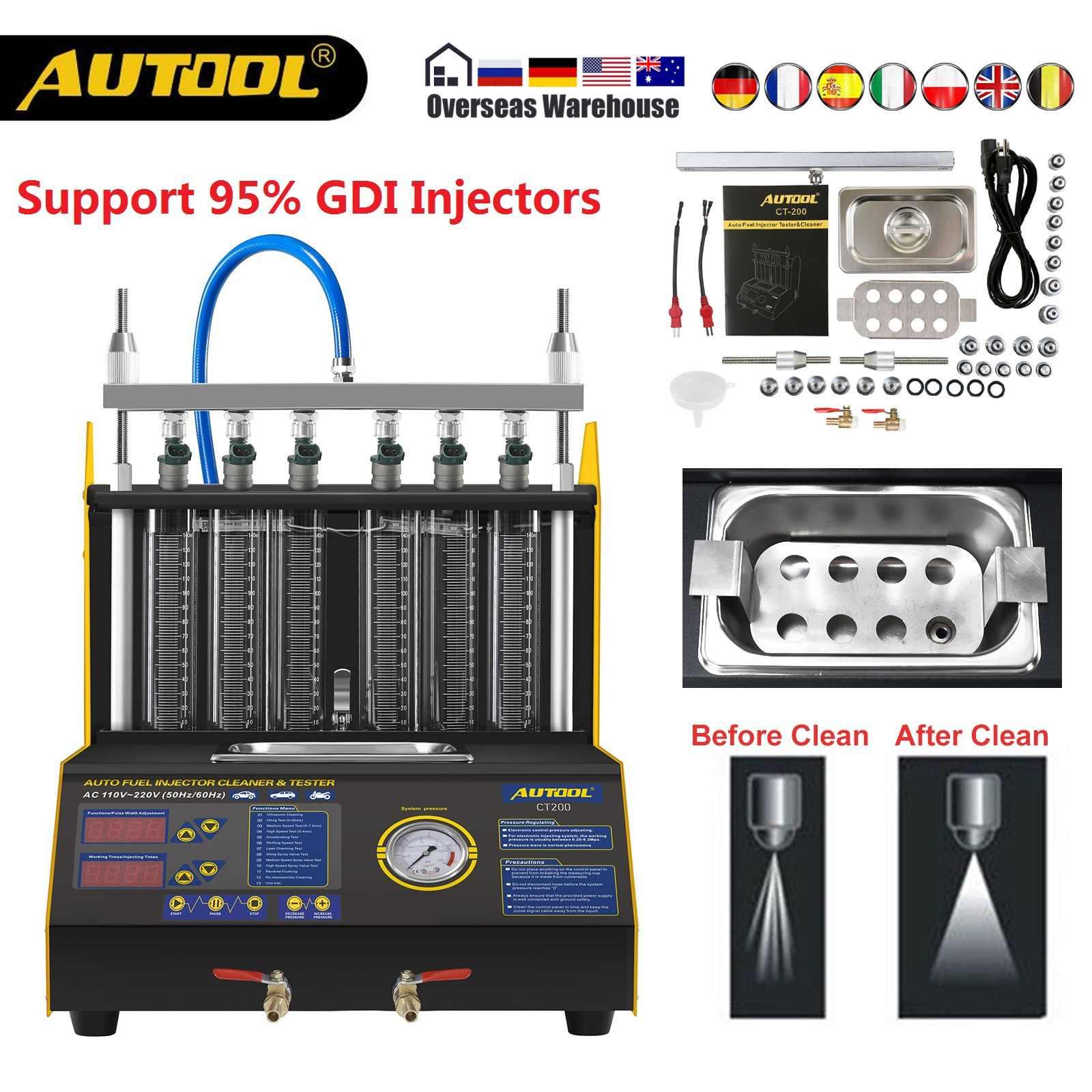 Autool CT200 gasonline ノズルクリーナー燃料インジェクターカーモーターサイクルの自動超音波インジェクター洗浄テスター機 pk CNC602A