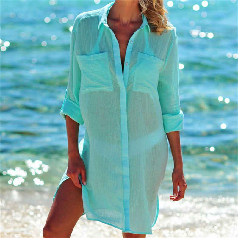 Mujeres Bikini cubrir traje de baño Kaftan traje de baño verano playa camisa vestido