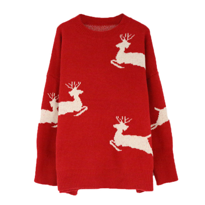 New Korean loose Christmas elk Beige red pullover women sweater coat 2019 winter new sweater women thickened New Year clothing - 5