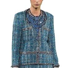 Blue Tweed Gold Wire Fashion Winter Clothes Womens Blazer/Suit Autumn Jackets For Women Ladies Blazer Vadim Clothing