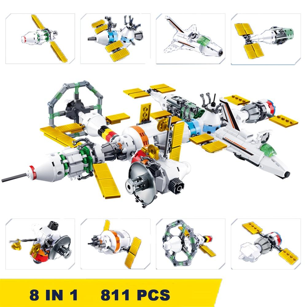 811 PCS 8 IN 1 Children Building Blocks Compatible LegoINGlys Bricks 2020 Boys Gift Toys Space Station Bricks Educational Block 1
