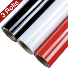 Heat Transfer Vinyl,3 Rolls Black White and Red HTV Vinyl Rolls Multi-Color Iron on Vinyl for Cricut and Silhouette for T-Shirts