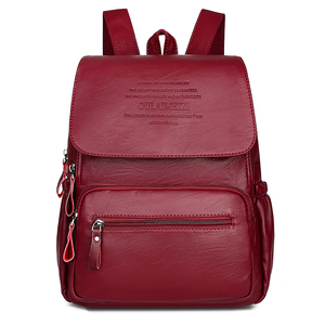 Image 1 - 2020 Women High Quality Leather Backpacks Female Shoulder Bag Sac A Dos Ladies Travel Bagpack Mochilas School Bags for Girls