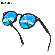 Men Polarized Sunglasses Round KARL Brand Designer Driving Glasses Colorful Film Retro Women