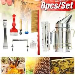 7 Pcs Beekeeping Equipment Tools Brush Uncapping Fork Queen Catcher Beekeeping Tool Supplies Equipment Kits Bee Feeder Brush