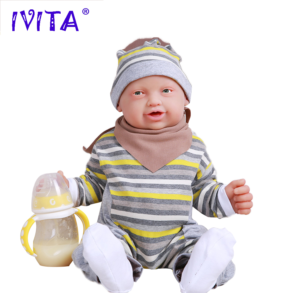 IVITA WB1513 59cm 5210g Real Soft Silicone Reborn Baby Boy Eyes Opened Doll Newborn Alive Laughing Babies Toy For Children