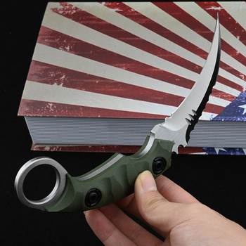 Karambit D2 Steel Fixed Blade Knife CS GO Outdoor Camping Survival Hunting Pocket Knives Tactical Military Self Defense Weapons 6