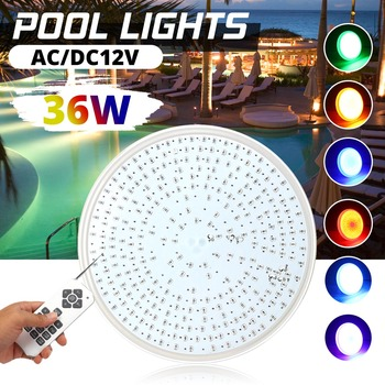 36W Ip68 RGB Led Swimming Pool Light Remote Control Led Waterproof Underwater Light AC/DC 12V Pond Lights RGB 252leds Spotlight